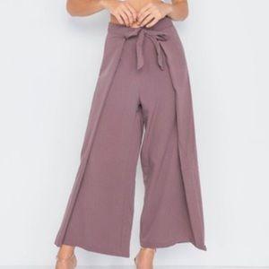 Pants - SIMPLYSTEFX Waist Tie Wide Leg Pants